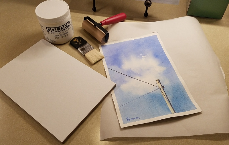 Mounting watercolors to board